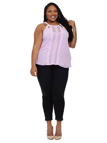 Lace Panel Top In Lilac