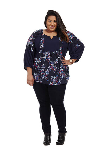 Robin Top In Navy Floral