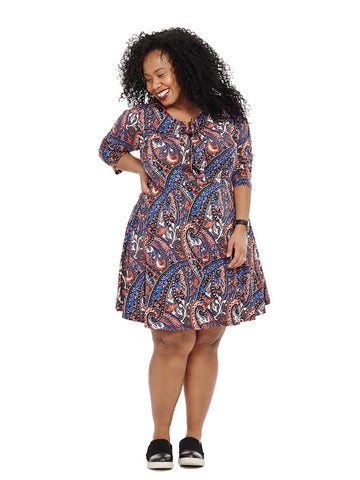 Lace Up Dress In Navy Paisley