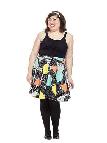 Geometric Printed Skater Skirt