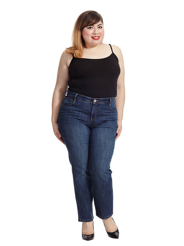 Tummy Control Straight Leg Jean In Rinse-Short