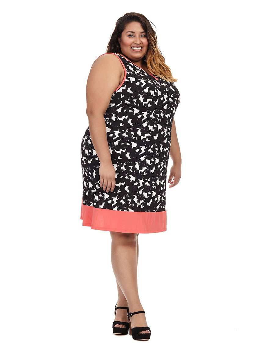 4d79e6cceee7 Keyhole Dress With Coral Border | New York Clothing Company ...