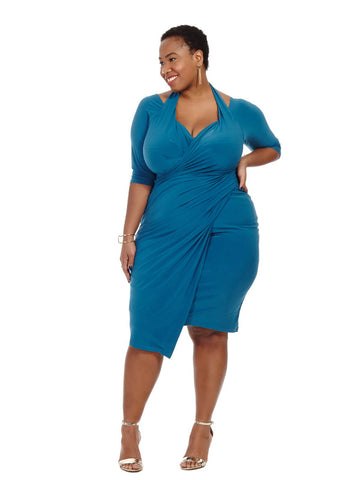 Foxfire Faux Wrap Dress in Blue