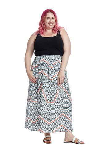 Marlena Maxi Skirt In Intersection Print