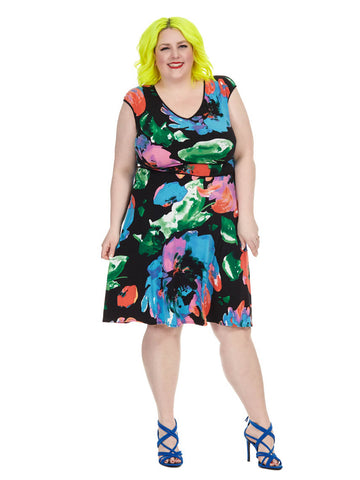 Midi Dress In Painterly Blossom Print