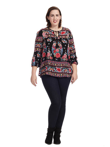 Floral Border Printed Tunic