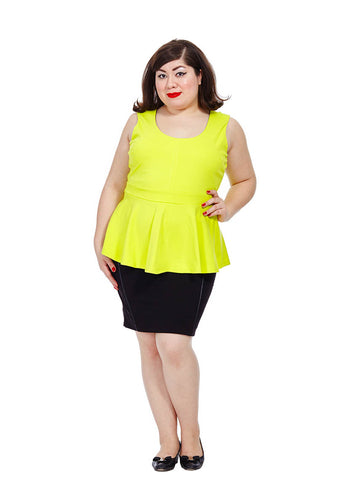 Sleeveless Peplum Top In Yellow
