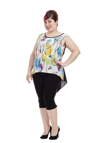 Colored-Pencil Printed Teagan Top