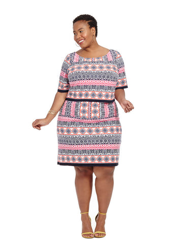 Popover Dress in Aztec Print