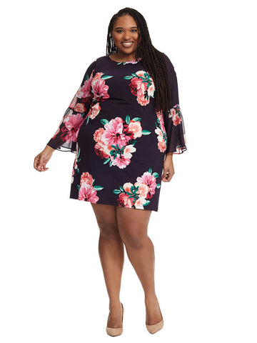 Rose Print Shift Dress With Split Sleeves