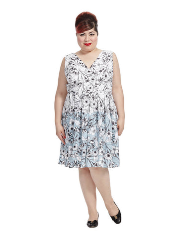 Blue Dipped Ivory Floral Dress