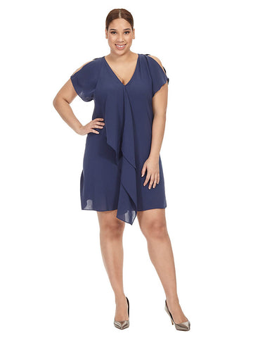 Dusky Navy Ruffle Front Dress