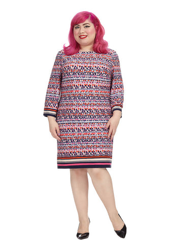 Shift Dress In Pixel Print