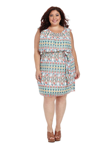 Cap Sleeve Blouson Dress In Ikat Print