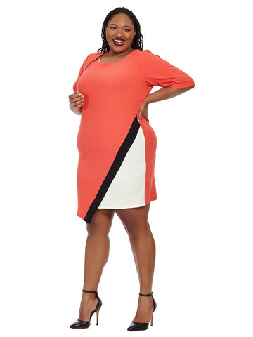 Asymmetrical Colorblock Dress in Red