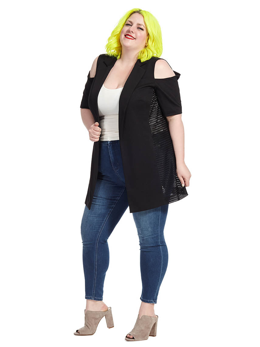 95d16d5b5ca58 Mesh Cold Shoulder Jacket