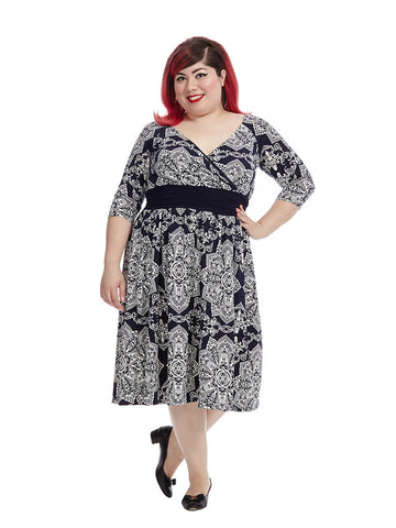 Steph Dress In Navy Kaleidoscope
