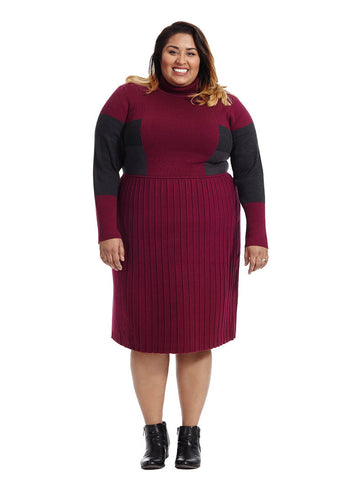 Berry Colorblock Sweater Dress