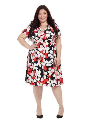 Flutter Sleeve Dress In Blossom Print
