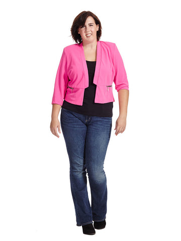 Wow Crop Jacket In Shocking Pink