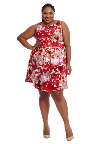 Shadow Floral Dress In Red