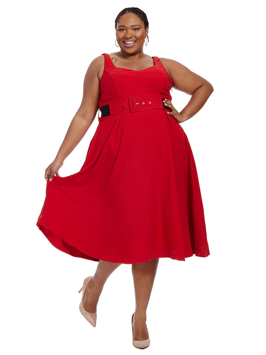 Red Tea Length Dresses with Sleeves