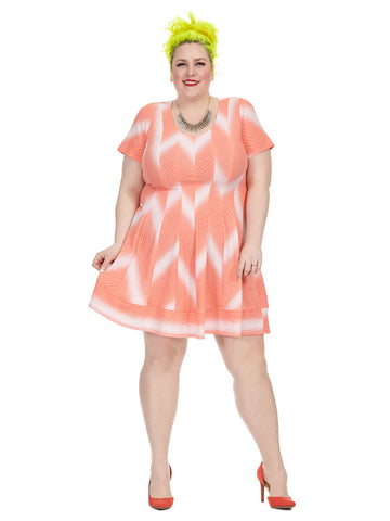 Broken Line Print Dress In Coral