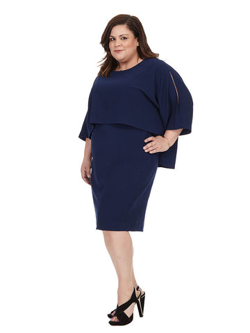 Navy Ink Cape Back Dress