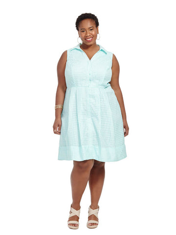 Gingham Burnout Shirt Dress