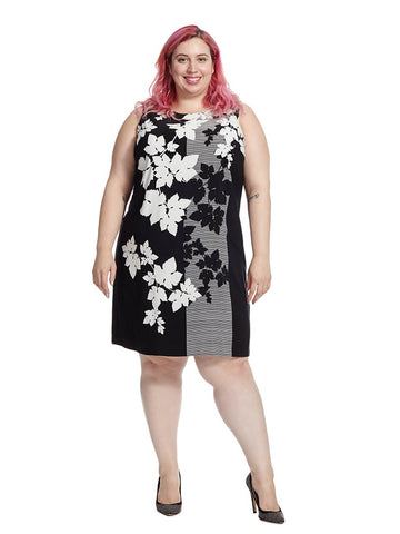 Floral Screen Shift Dress In Black