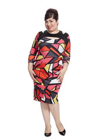 Bright Geometric Cut Out Dress