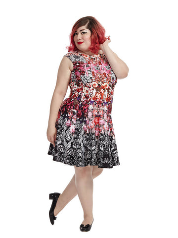 Scuba Dress In Dark Floral