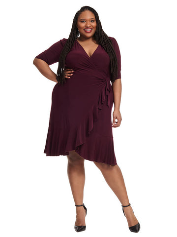 Whimsey Wrap Dress In Purple
