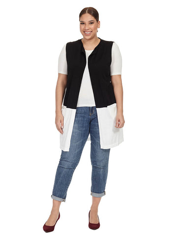 Open Front Colorblock Vest