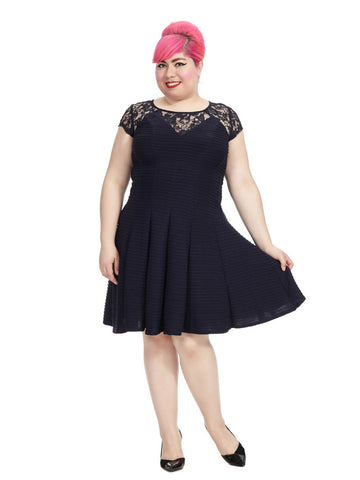 Navy Dress With Lace Yoke