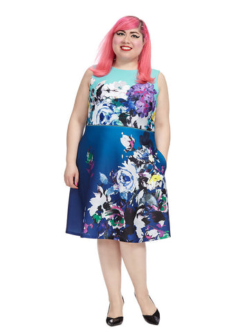 Mixed Floral Dress In Blue Multi