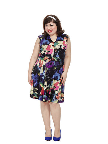 Flared Dress In Abstract Floral