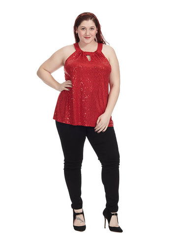 Real Red Sequin Halter Top