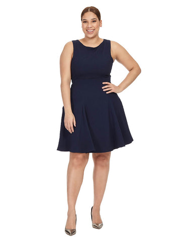 Skater Dress In Textured Navy