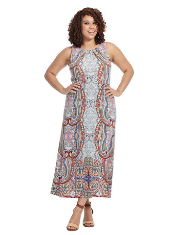 Blouson Maxi Dress In Paisley Print