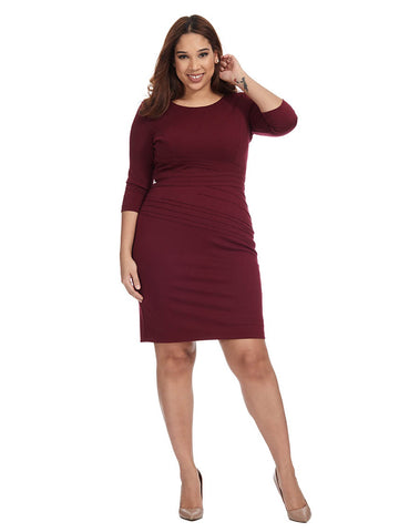 Ponte Dress In Berry