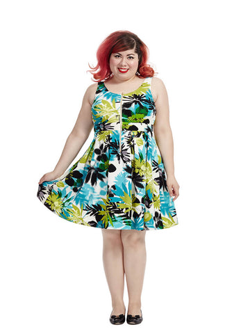 Aqua Dress In Tropical Palm Print