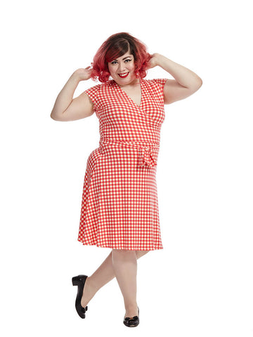 Perfect Wrap Dress In Gingham Raspberry