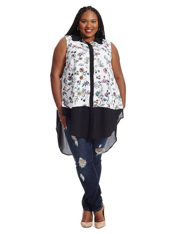 Hi Lo Mixed Print Top