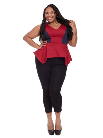 Cameron Peplum Top In Navy & Burgundy