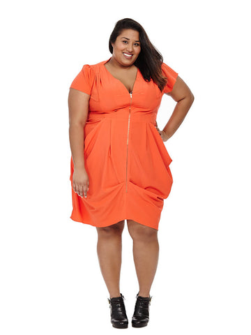 Zip Front Tunic Dress In Orange