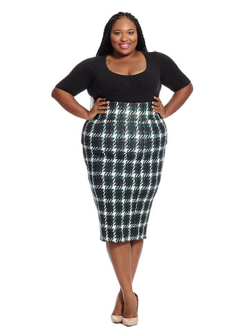 Pinegrove Houndstooth Pencil Skirt