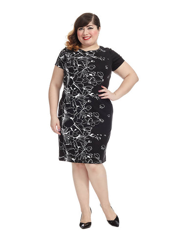 Abstract Floral Black & Ivory Dress