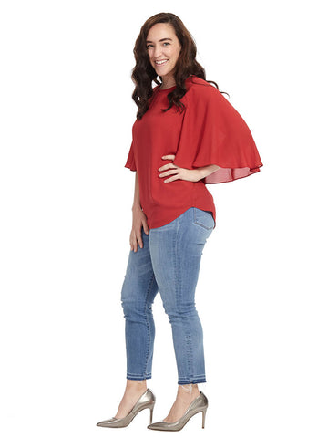 Cape Sleeve Top In Red