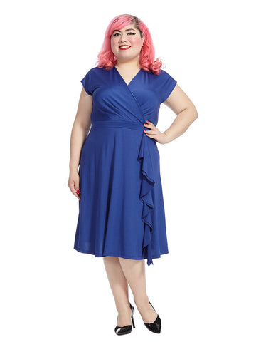 Faux Wrap Dress In Orinoco Blue